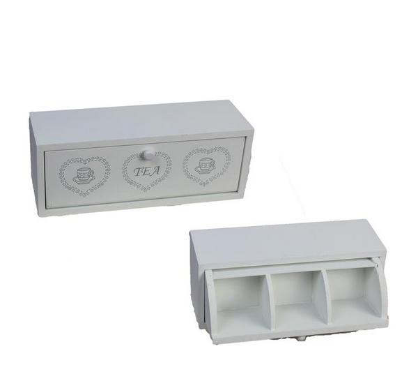 Dřevěná krabička tea bílá