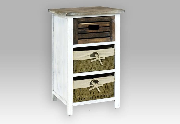 Dřevěná bílá komoda 3 zásuvky