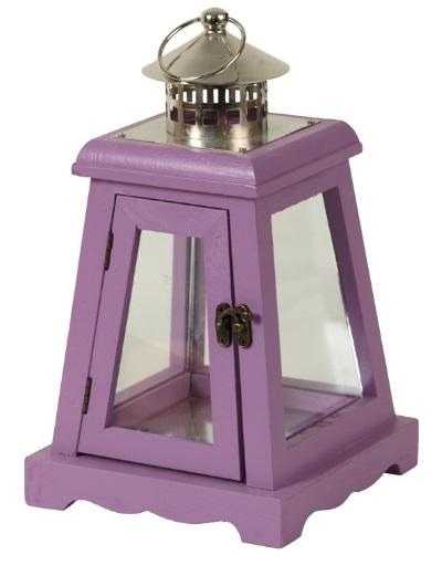 Dřevěná lucerna fialová 27cm