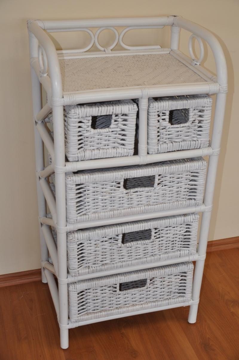 Ratanová komoda 3+2 zásuvky bílá