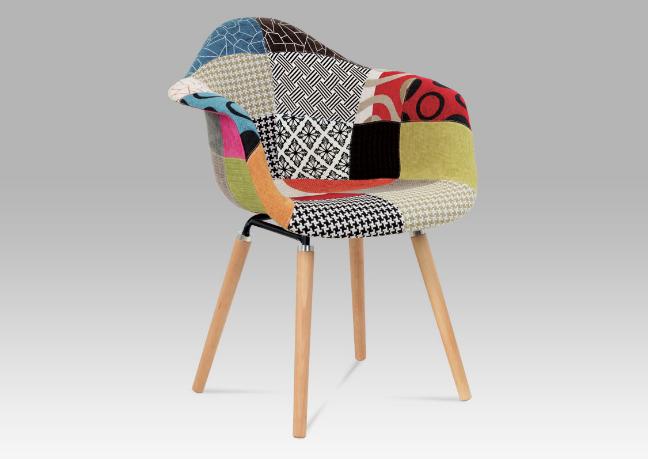 Originální jídelní židle patchwork / natural CT-723 PW2
