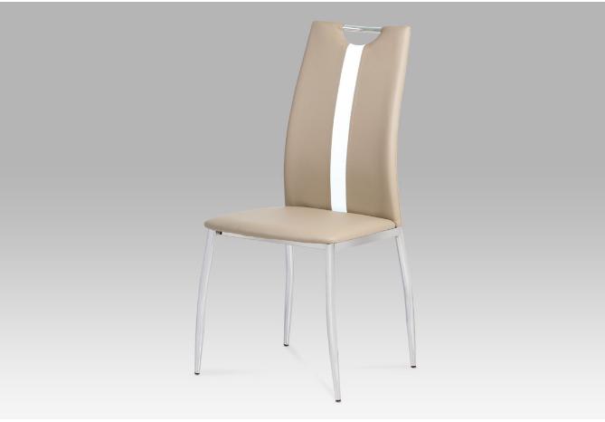 Jídelní židle koženka cappuccino / chrom AC-1296 CAP