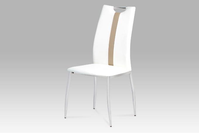 Jídelní židle koženka bílá / chrom AC-1296 WT