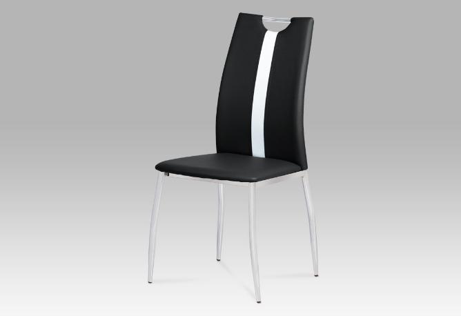 Jídelní židle koženka černá / chrom AC-1296 BK