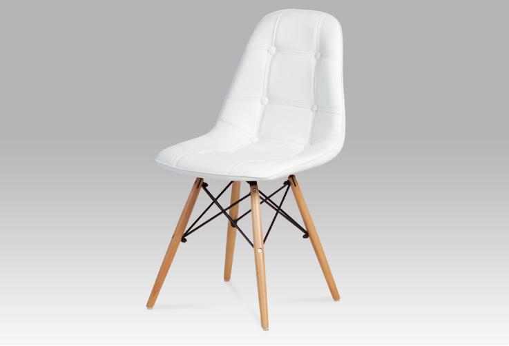 Jídelní židle, koženka bílá / natural WT1 CT-720 WT1