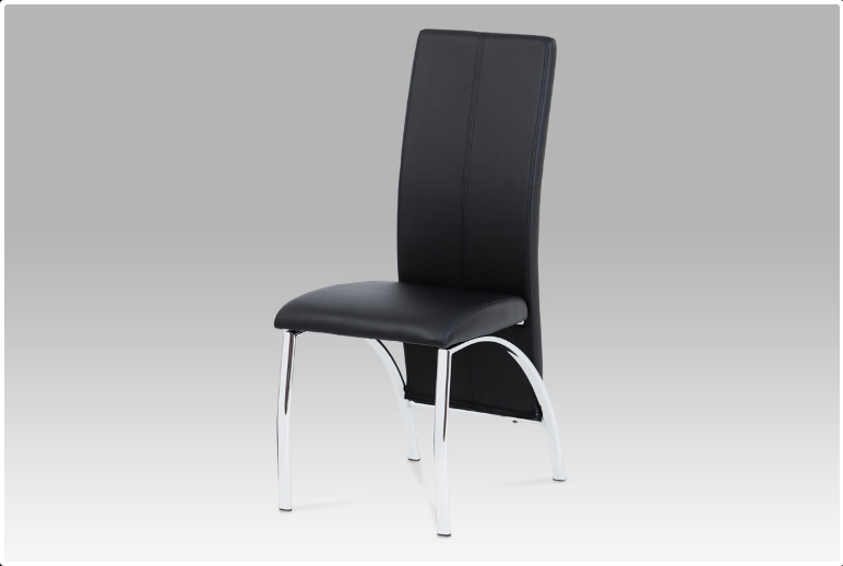 Jídelní židle koženka černá / chrom AC-1060 BK