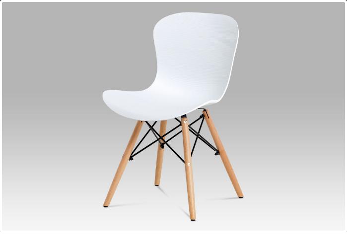 Jídelní židle bílý vroubkovaný plast / natural AUGUSTA WT