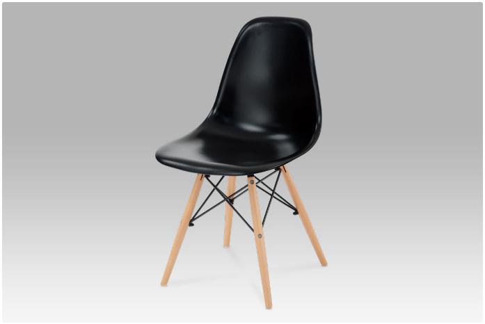 Jídelní židle černý hladký plast / natural CT-718 BK1
