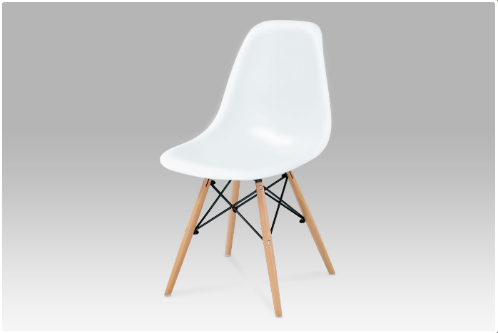 Jídelní židle bílý hladký plast / natural CT-718 WT1
