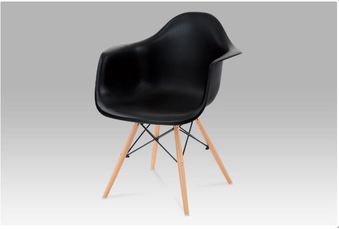 Jídelní židle černý plast / natural CT-719 BK1