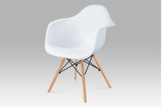 Jídelní židle bílý plast / natural CT-719 WT1