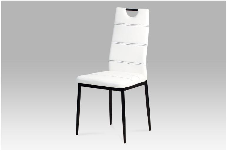Jídelní židle koženka bílá / černý lak AC-1220 WT