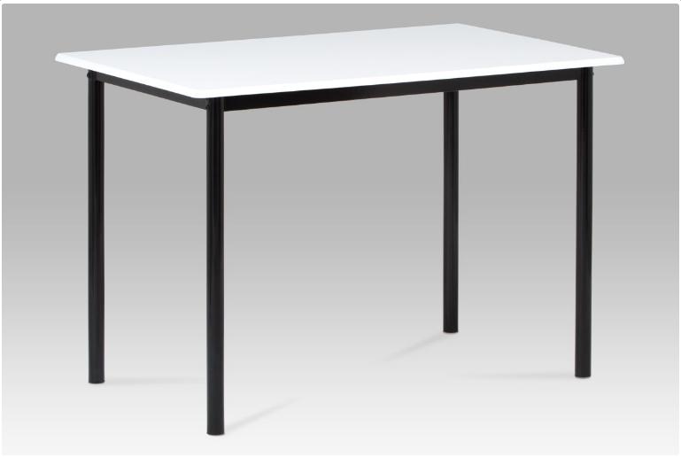 Jídelní stůl 110x70 cm, vysoký lesk bílý / černý lak GDT-222 WT