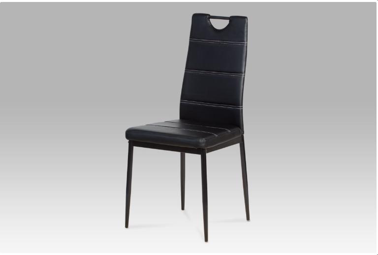 Jídelní židle koženka černá / černý lak AC-1220 BK