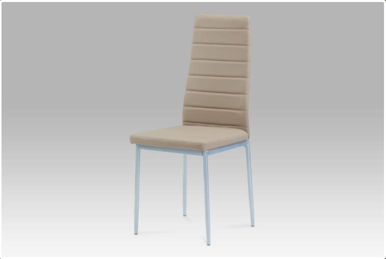 Jídelní židle koženka cappuccino / šedý lak DCL-117 CAP