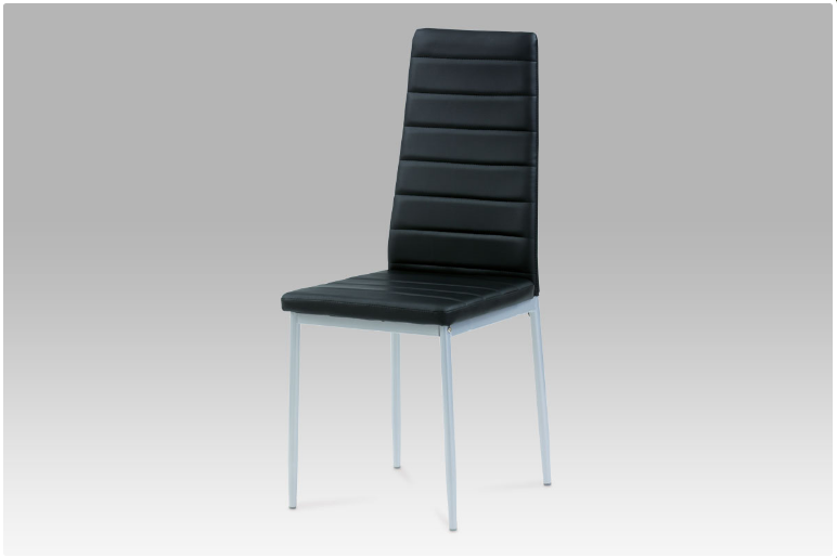 Jídelní židle koženka černá / šedý lak DCL-117 BK