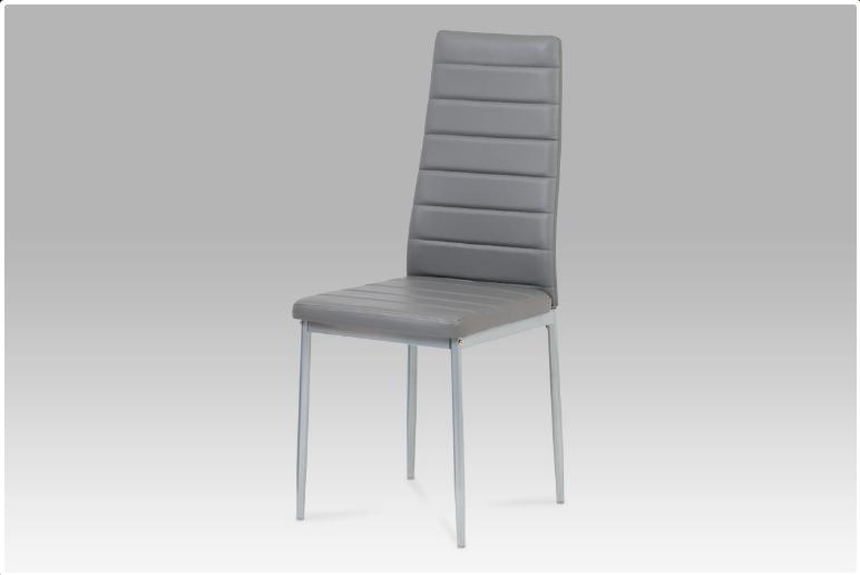 Jídelní židle koženka tmavě šedá / šedý lak DCL-117 GREY