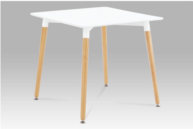 Jídelní stůl 80x80 cm, bílá / natural DT-706 WT1