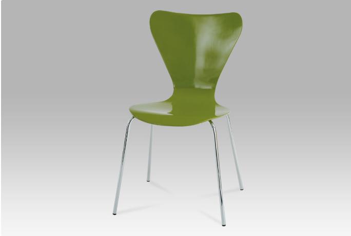 Jídelní židle chrom / překližka zelená (lesk) C-180-5 GRN