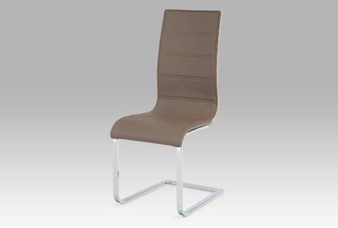 Jídelní židle, koženka coffee / sonoma / chrom WE-5022 COF