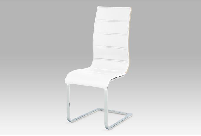Jídelní židle, koženka bílá / sonoma / chrom WE-5022 WT