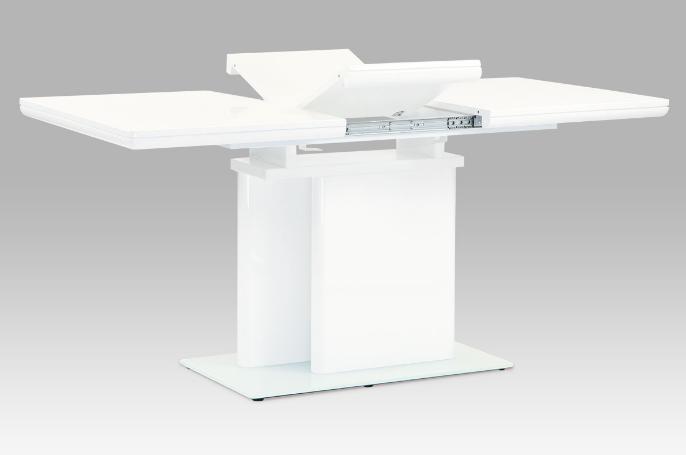 Jídelní stůl rozkládací 120+40x80 cm, vysoký lesk bílý HT-655 WT