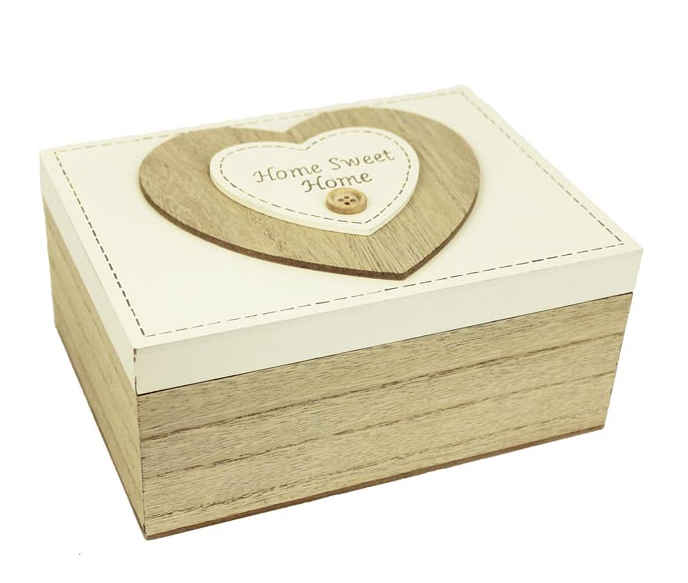 Dřevěná krabička,box Sweet Home - srdce
