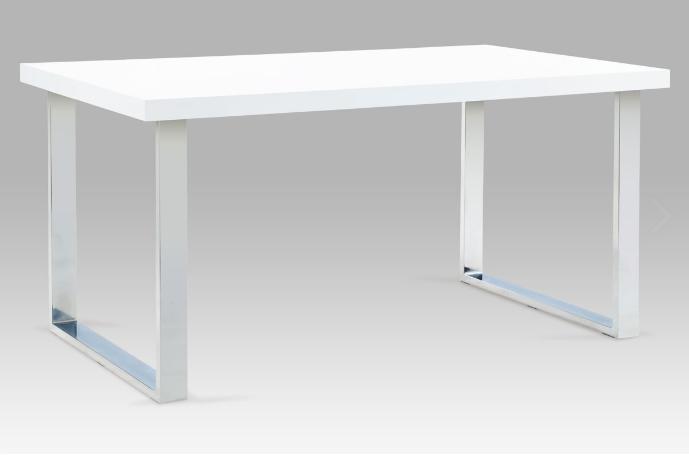 Jídelní stůl 150x90 cm, chrom / bílý lesk A880 WT